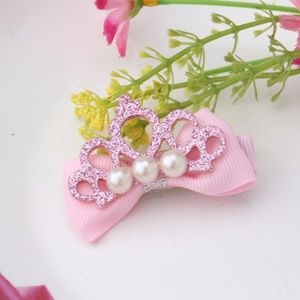 Cute Pink Glitter Pearl Crown Girl's Hairpin